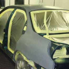 A car that has had primer applied